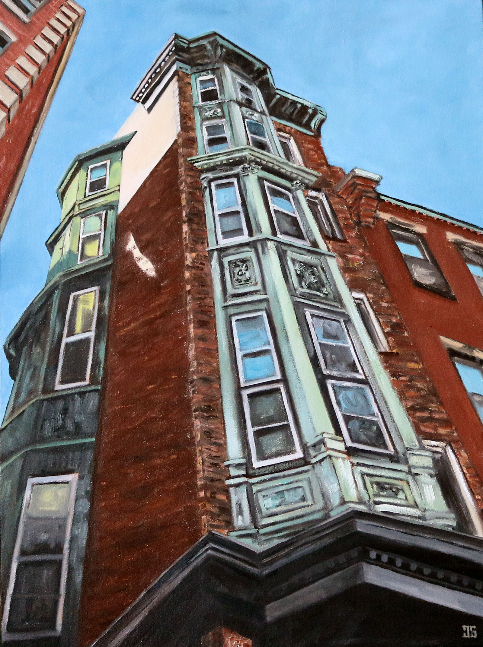 "Oil painting ""230 Hanover Street, North End, Boston"" by Jeffrey Dale Starr"