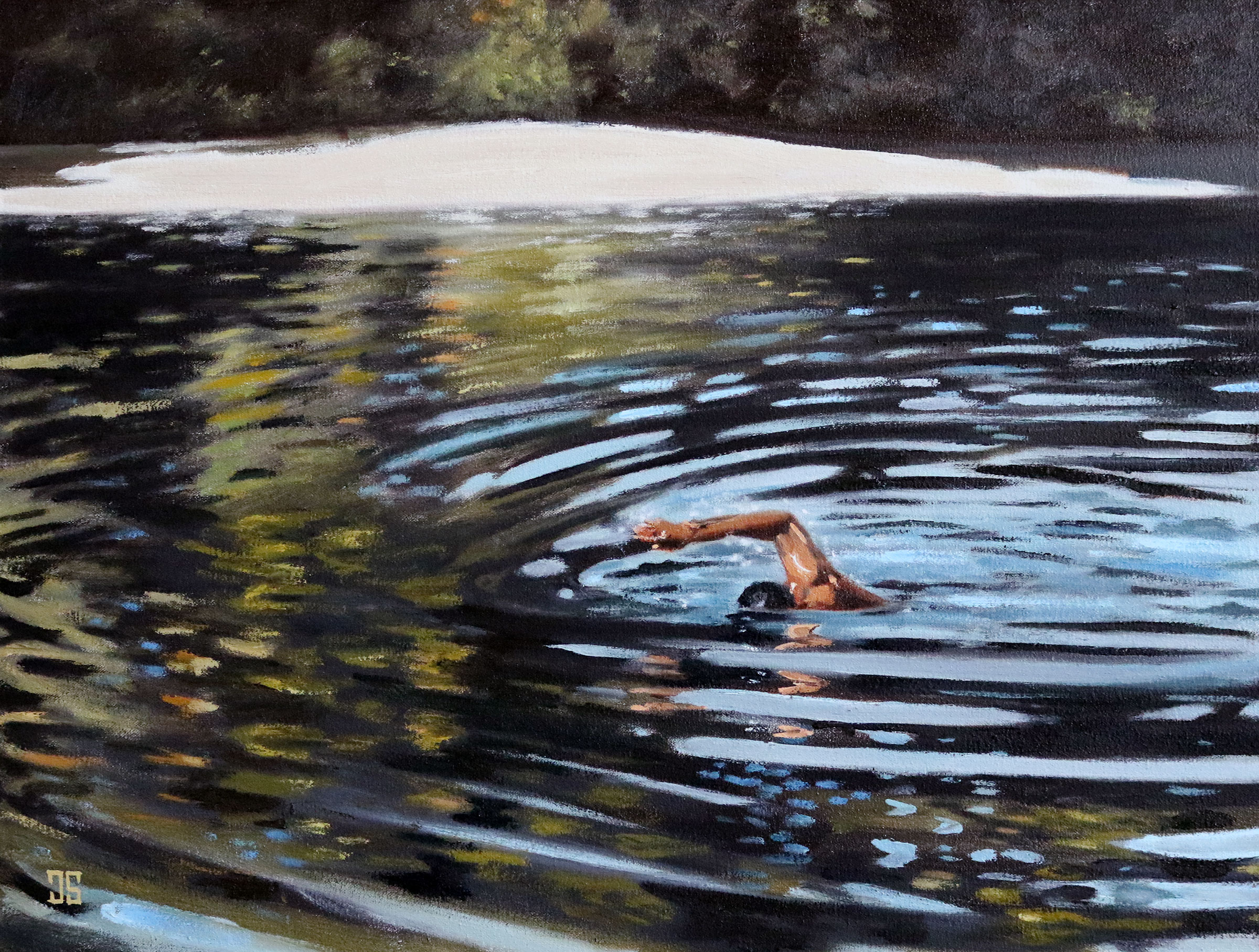 Early Morning Walden Pond Swimmer by Jeffrey Dale Starr