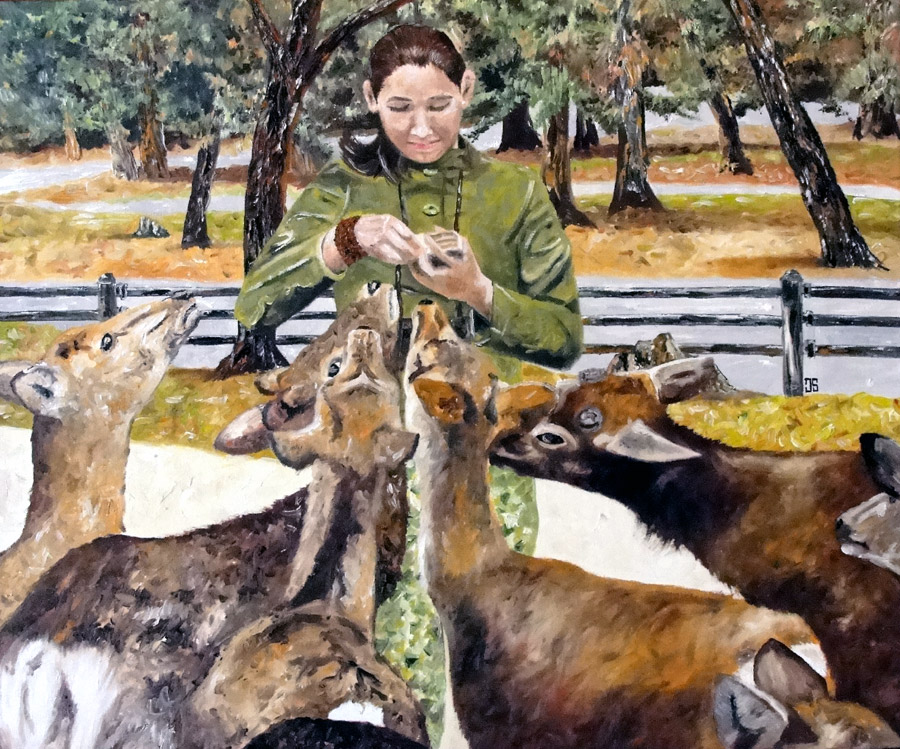 "Oil painting ""Feeding Deer In Nara"" by Jeffrey Dale Starr"