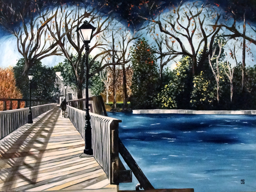 "Oil painting ""Lakeside Park Bridge, Early Winter"" by Jeffrey Dale Starr"