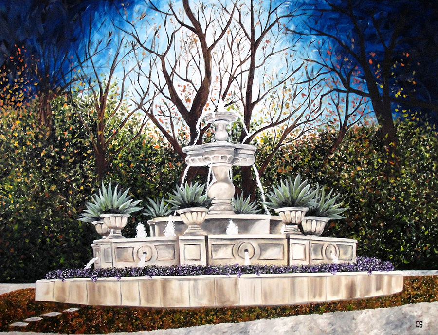 "Oil painting ""Priddy Fountain, Highland Park"" by Jeffrey Dale Starr"