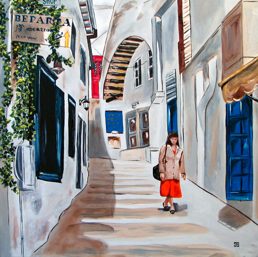 "Oil painting ""Side Street In Hydra, Greece"" by Jeffrey Dale Starr"