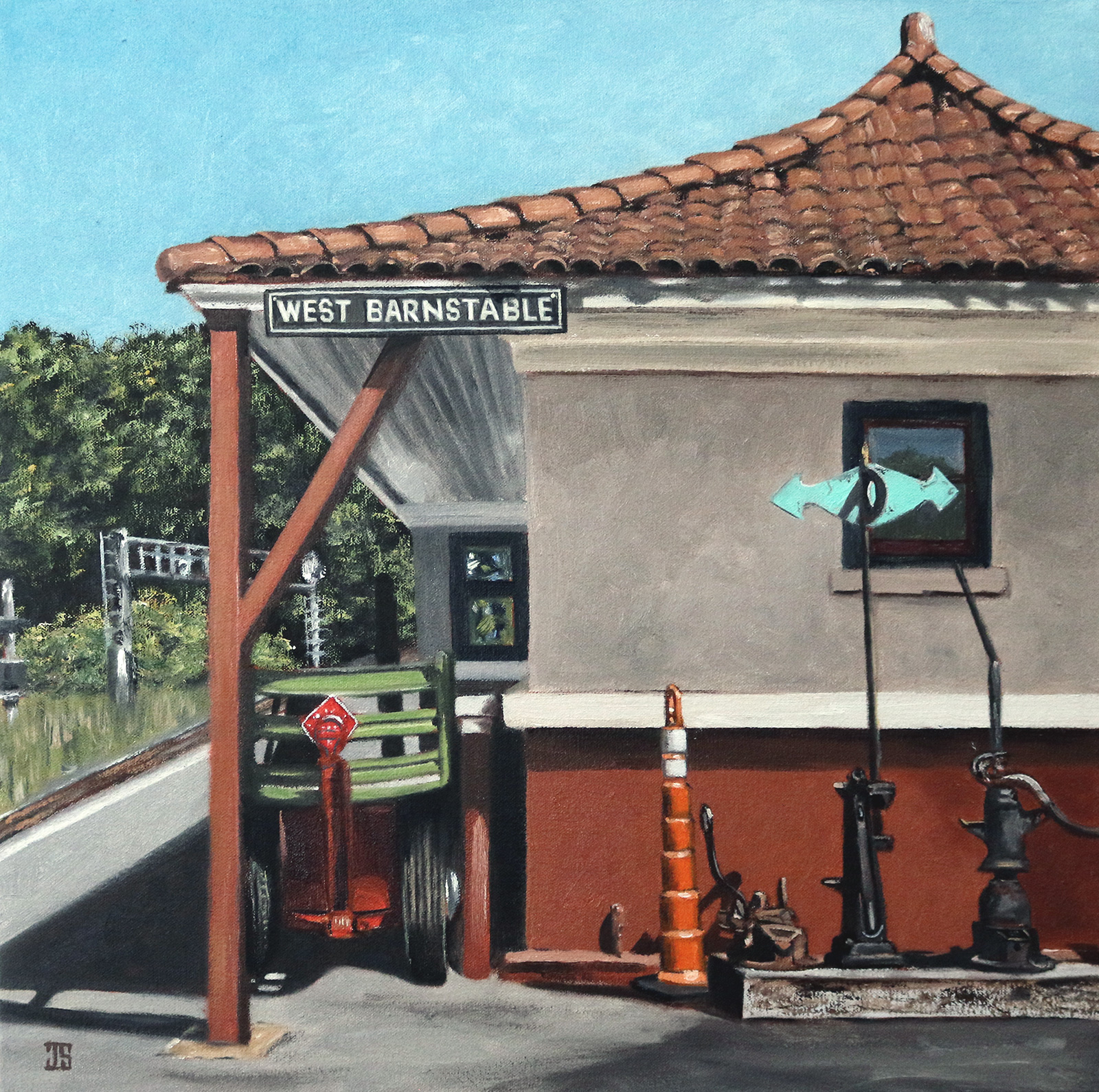 "Oil painting ""West Barnstable Train Station"" by Jeffrey Dale Starr"