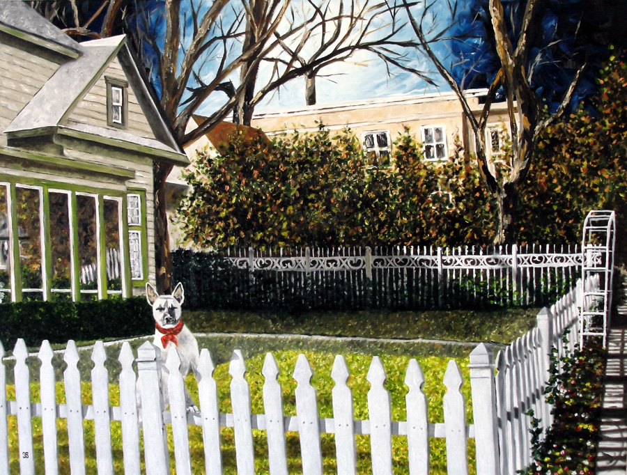 "Oil painting ""White Dog"" by Jeffrey Dale Starr"