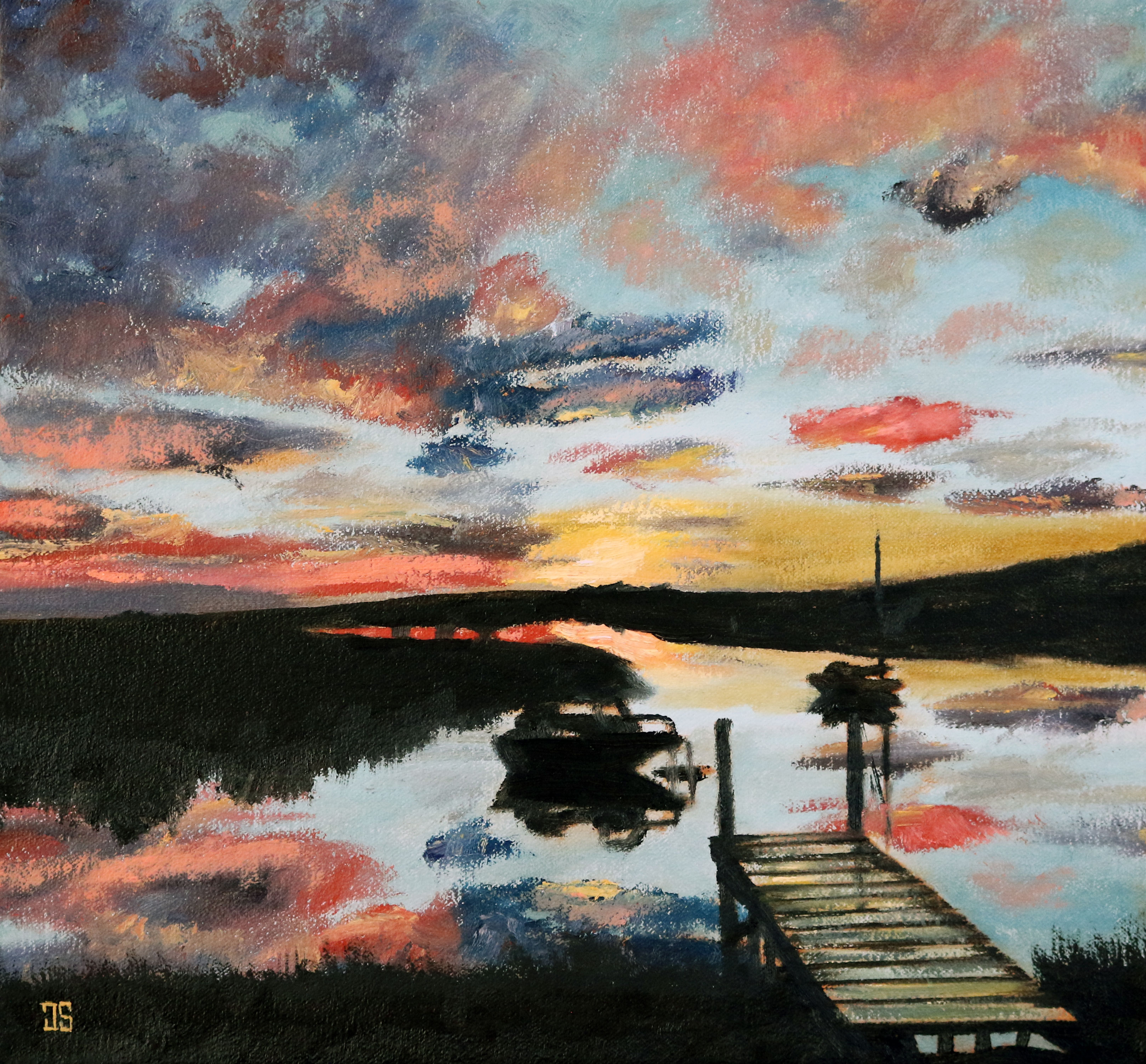 "Oil painting ""Sunrise at the Pier"" by Jeffrey Dale Starr"