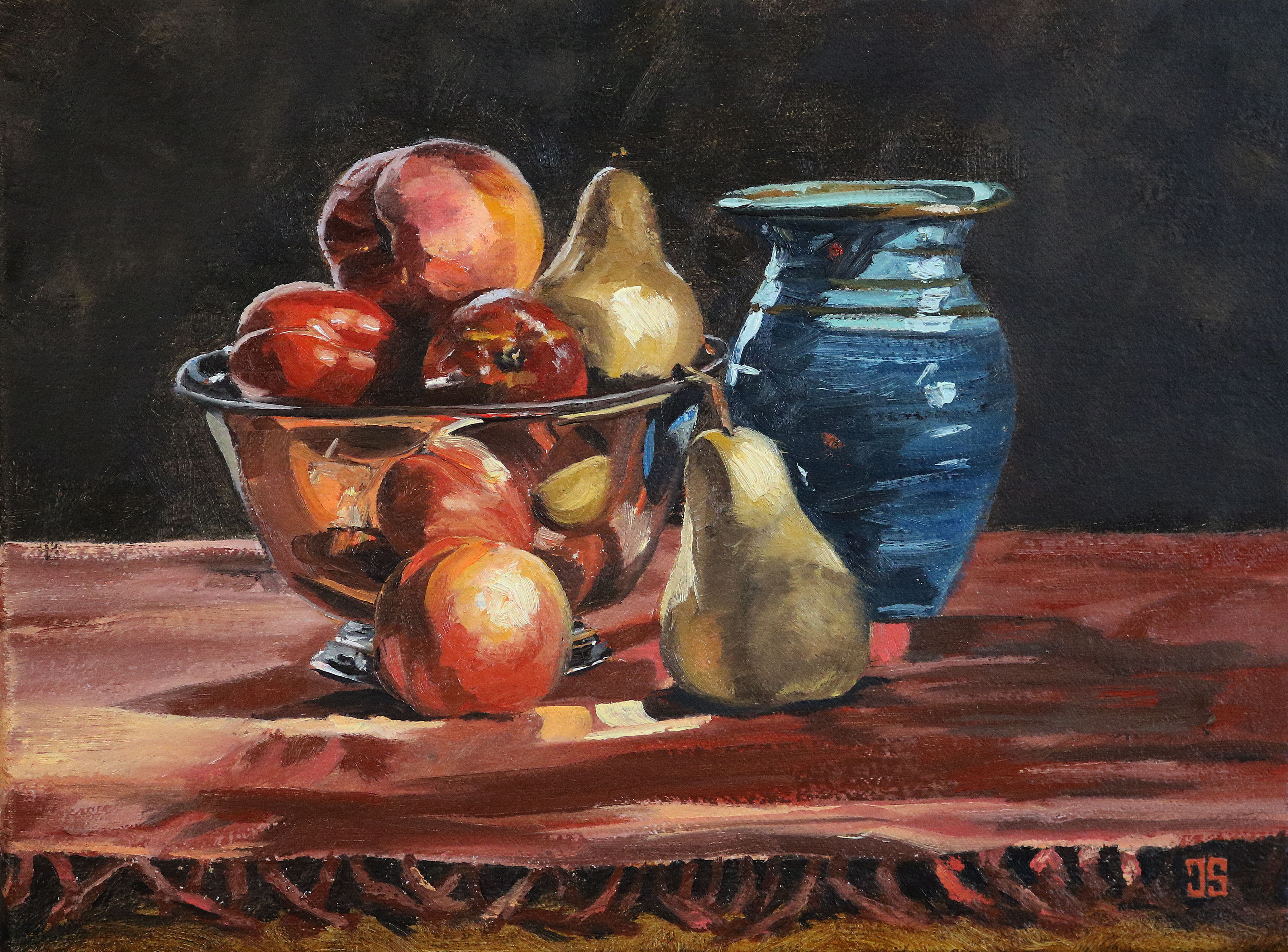 "Oil painting ""Peach, Pears, Nectarines"" by Jeffrey Dale Starr"
