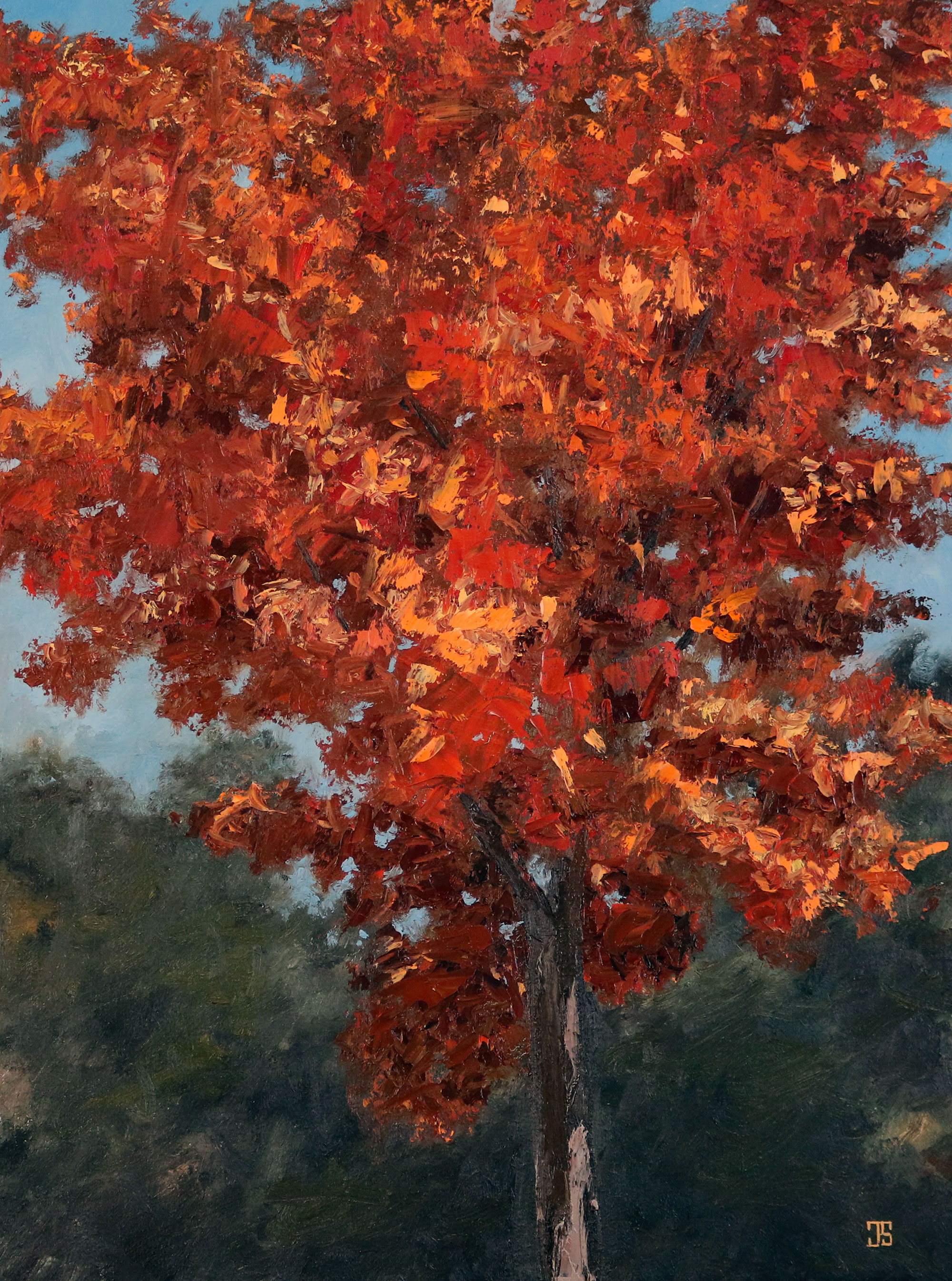 "Oil painting ""Red Tree"" by Jeffrey Dale Starr"